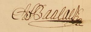 Anders Fredrik Baalacks namnteckning som kompanichef i en generalmönsterrulla 1744