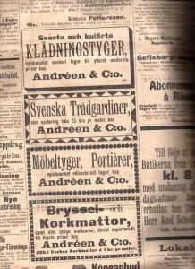 Annonser för Gustaf Leonard Lymans manufakturaffär Andréen & C:o. Norrlandsposten 4/10 1895.