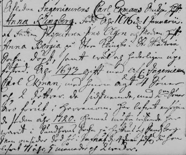 Anna Klingberg, notis i Gagnefs dödbok 1747.