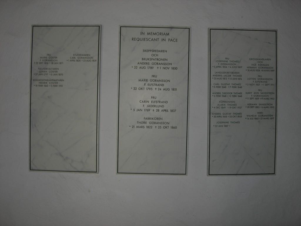 Namntavlor i Göranssons rum