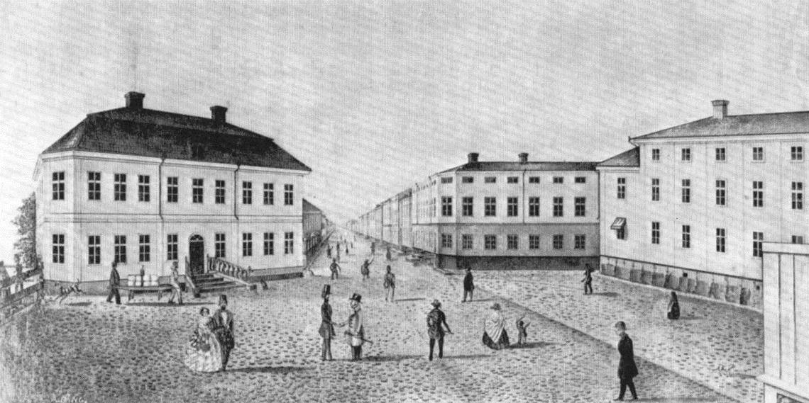 Järntorget med Elfbrinks hus (E) till vänster. Teckning av A. Bång 1843.