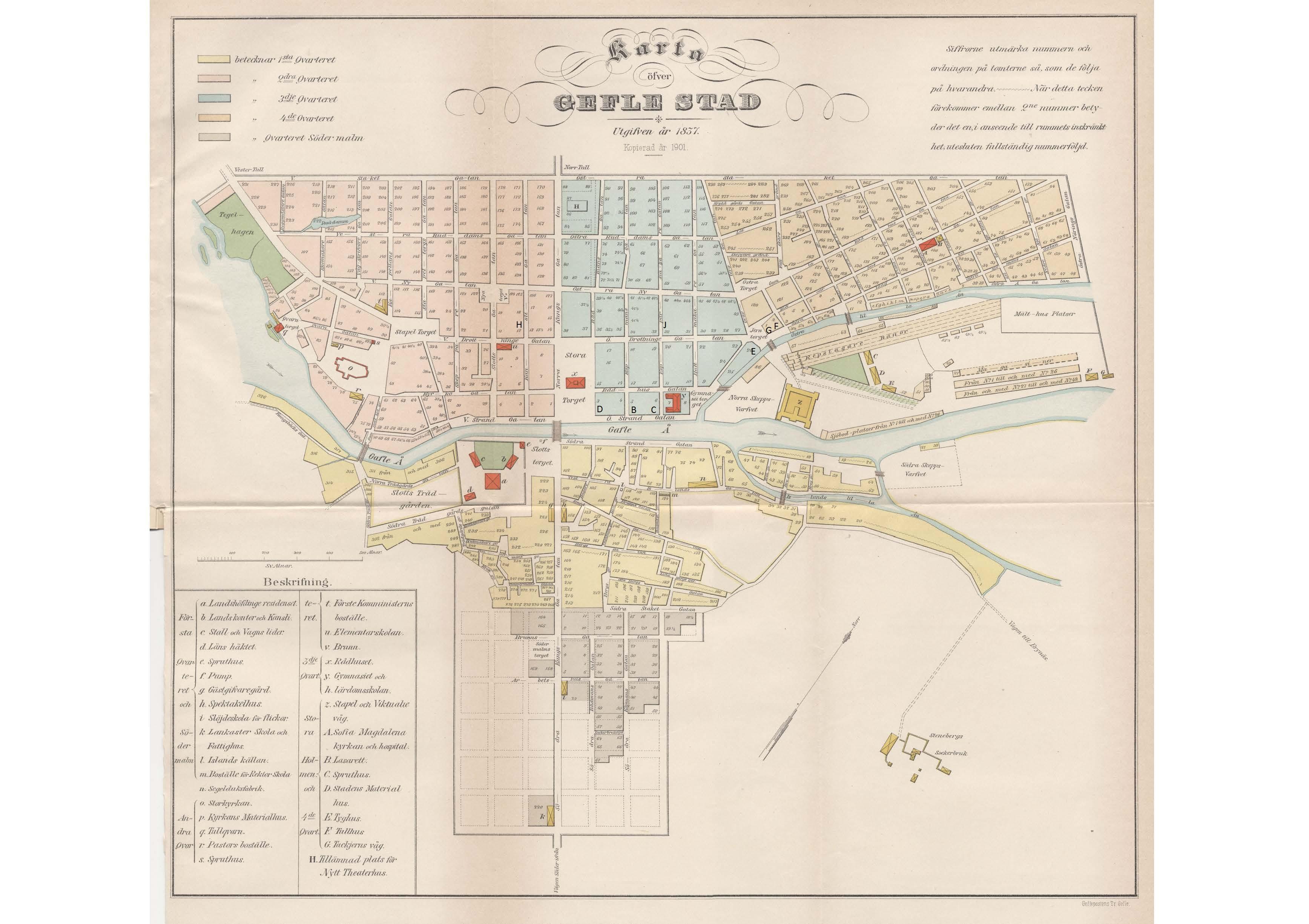 Gävle 1837, med släktens gårdar markerade