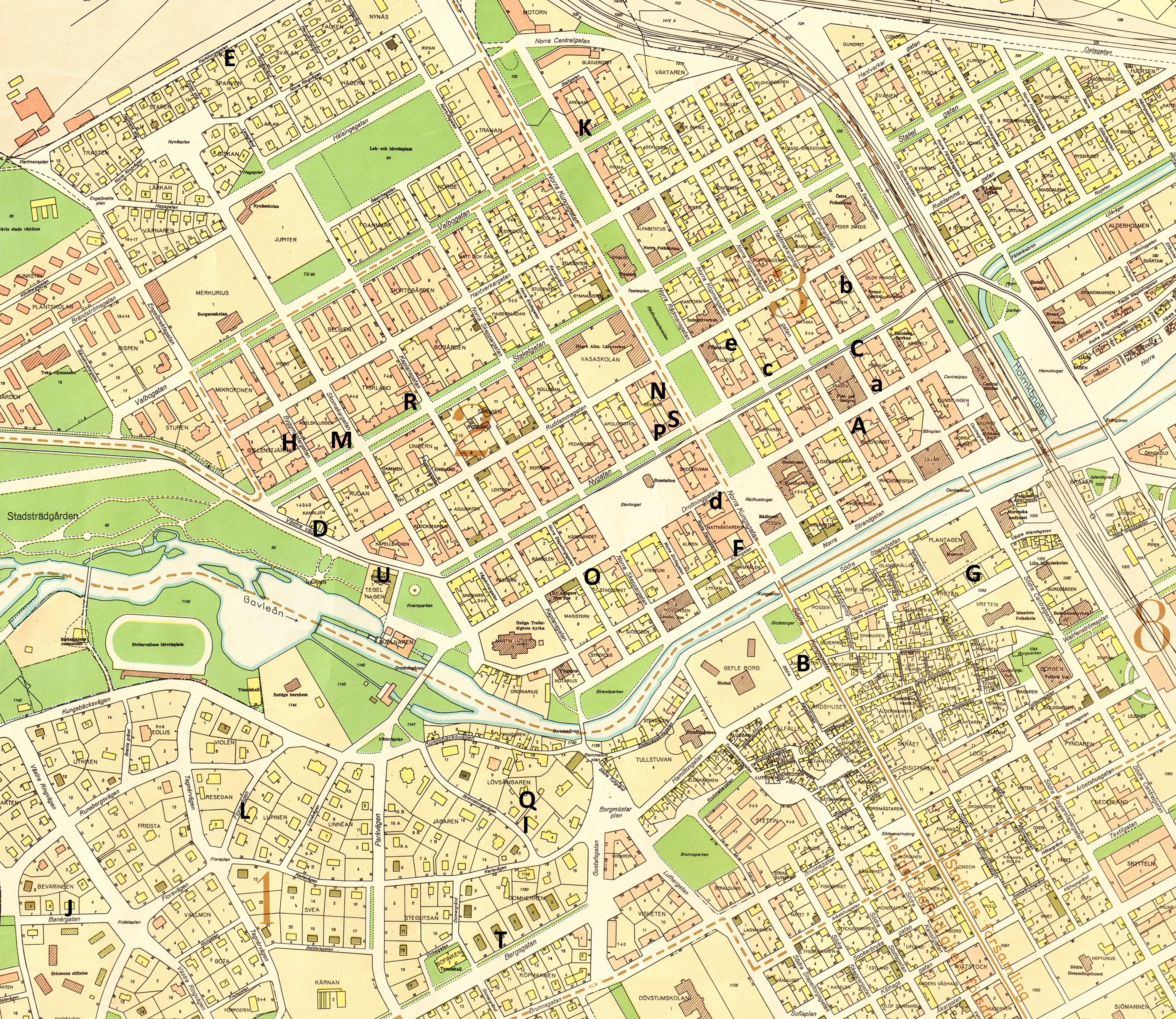 Karta (från 1950) med bostäderna markerade. (Klicka på kartan för att få den större.)