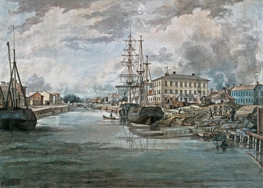 Gavleån. Till höger Norra varvet. Bakom det gymnasiet, och sedan skymtar det Elfstrand-Valleyska huset (B och C) bakom masterna. Akvarell av Ferdinand Tollin från 1830-talet.