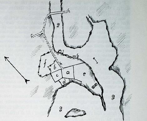 Hyttnäs. Karta ritad av Carl Ekman 1699, då familjen bodde där. a mangård; b ladugård; c stallgård; d kryddgård; e trädgårdsnäset med två ruddammar; f kål- och humlegård; g Sundbornsströmmen; h vägar; j kvarn; k kopparhytta