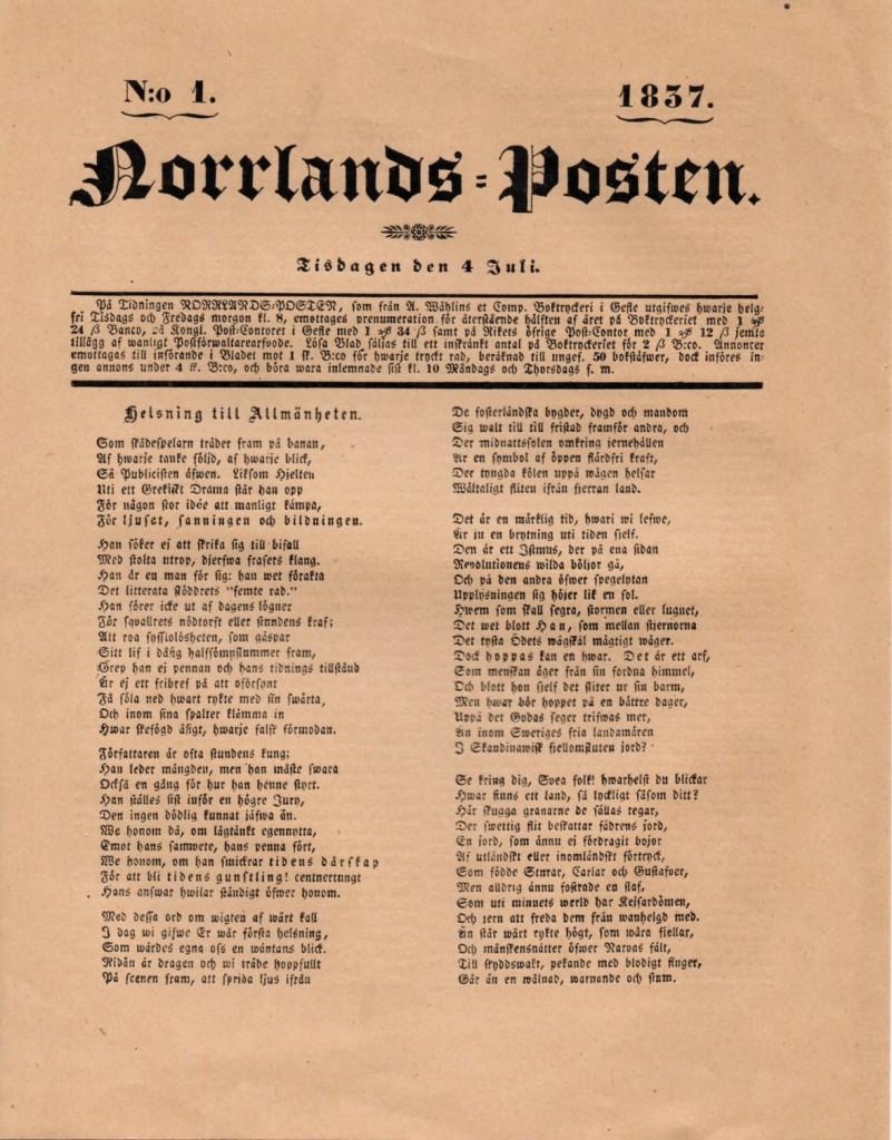 Norrlands-Postens första förstasida, 4/7 1837
