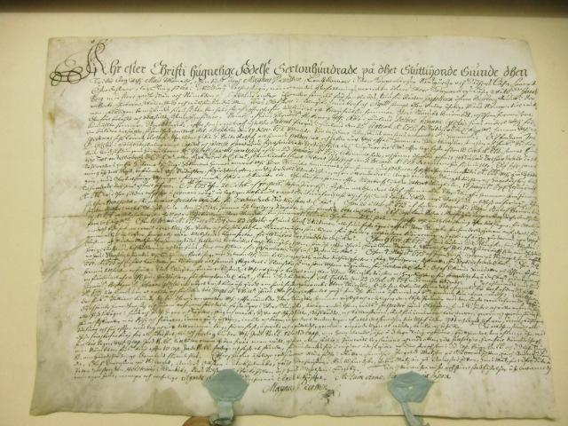 Fastebrev på Jöns Olofssons köp av Stora Klingsbo, daterat 1677