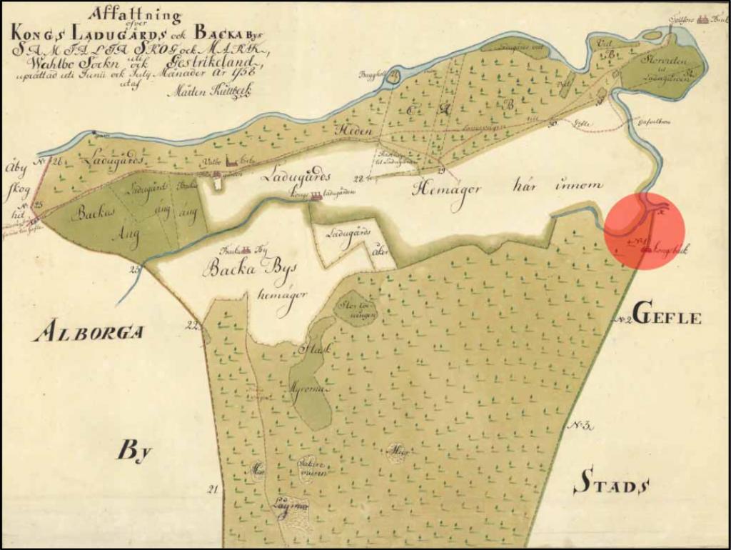 Karta över Vall och Backa 1758 (den röda pricken är modern och visar Kungsbäck).